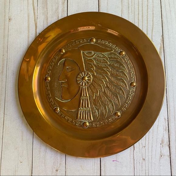 Vintage Copper Native American plate